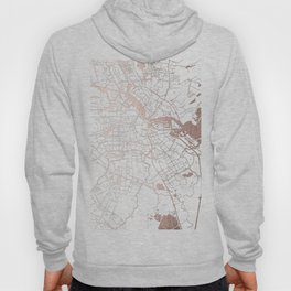 Amsterdam White on Rosegold Street Map Hoody