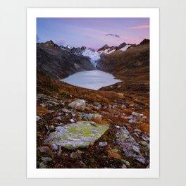Grimsel Oberaar valley at sunrise, Berner Oberland, Switzerland Art Print