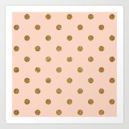 Bisque Gold Glitter Dot Pattern Art Print