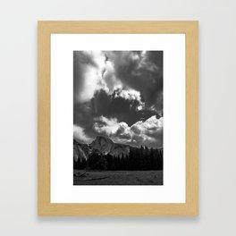 HALF DOME IN STORM Framed Art Print