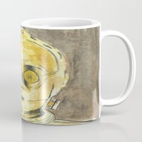 c3po Mugs featuring C3PO by Johannes Vick