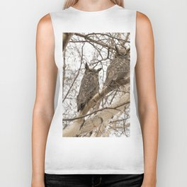 Great Horned Owl Pair Biker Tank