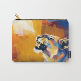 In the Sunlight - Lion portrait, animal digital art Carry-All Pouch