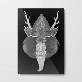 Mandril Samurai (b&w version) Metal Print