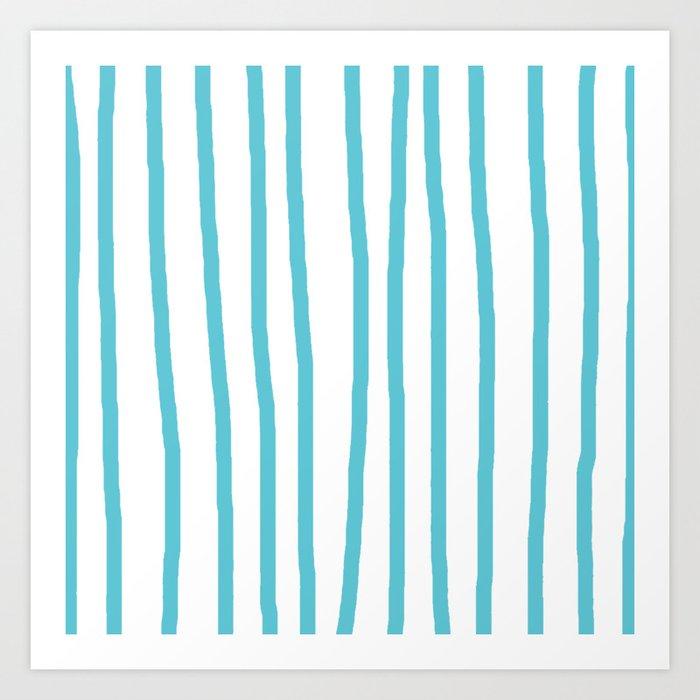 Simply Drawn Vertical Stripes in Seaside Blue Art Print