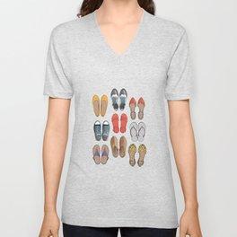 Hard choice // shoes on white background Unisex V-Neck