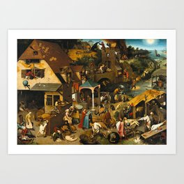 Pieter Bruegel the Elder Netherlandish Proverbs Painting Art Print