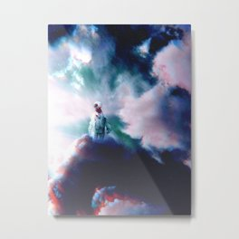 Astronaut in the Clouds-Trippy Metal Print