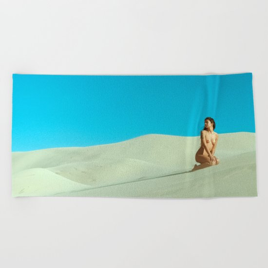 in the still sands of leave Beach Towel
