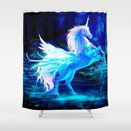 Unicorn Forest Stars Cristal Blue Shower Curtain