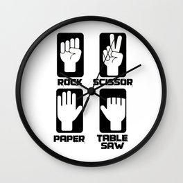 scissors stone paper circular saw craftsman gift Wall Clock