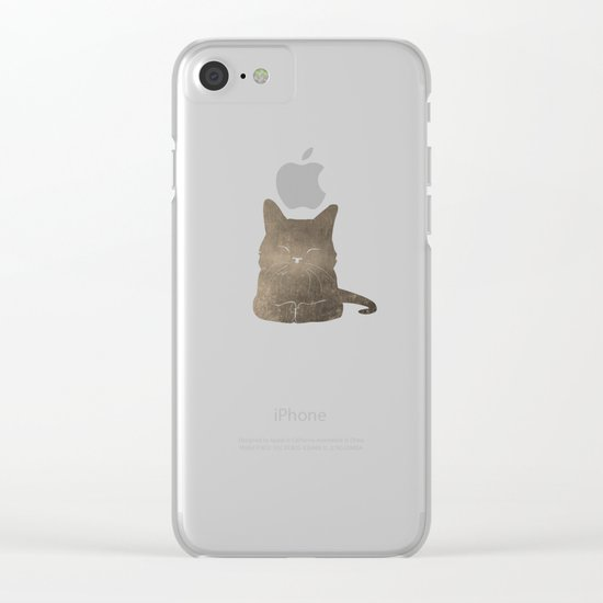 Happy cat illustration in blue and brown Clear iPhone Case