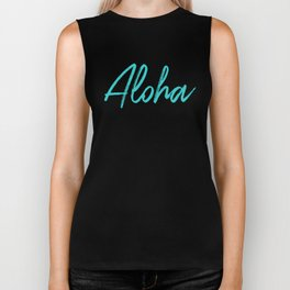 Aloha in Tropical Blue Biker Tank
