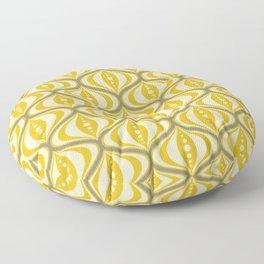 Retro Mid-Century Saucer Pattern in Yellow, Gray, Cream Floor Pillow