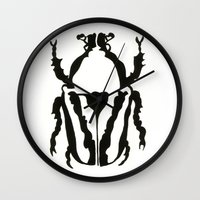 insects Wall Clocks featuring Insects by Kim Cooper Collections