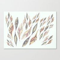feathers Canvas Prints featuring Feathers by Vasare Nar