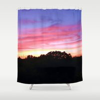 wisconsin Shower Curtains featuring Wisconsin Sunset by Ron Trickett
