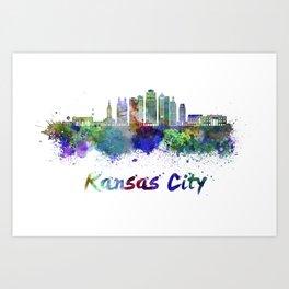 Kansas City V2  skyline in watercolor Art Print
