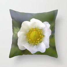 white strawberry flower. floral photo art. Throw Pillow