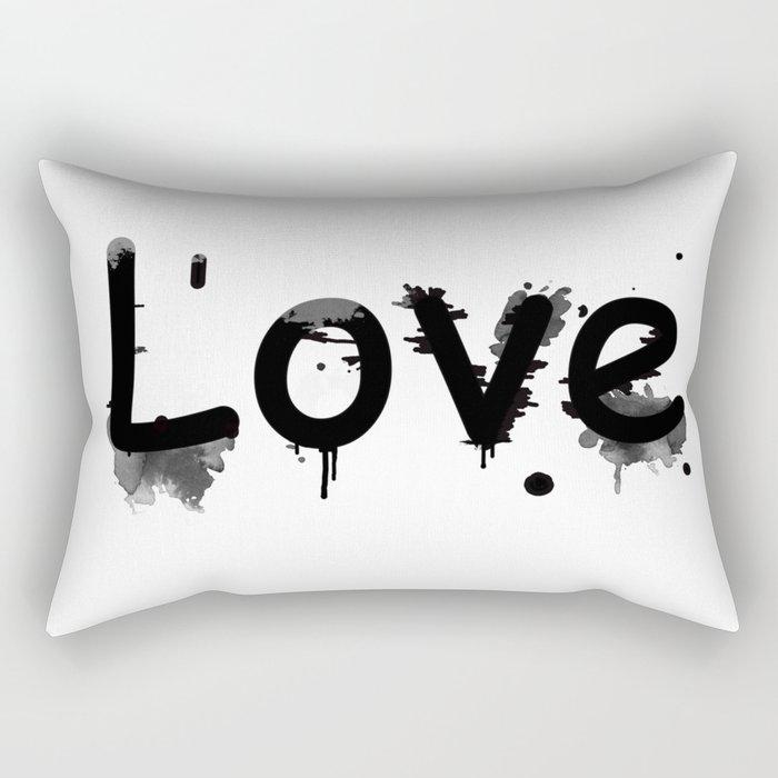 Black and white pattern Love .  1 Rectangular Pillow