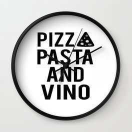 PRINTABLE Art,Pizza Pasta And Vino,Kitchen Wall Art,Bar Decor,Restaurant Decor Wall Clock