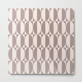 Mid Century Modern Geometric Half Oval Pattern 253 Beige Metal Print