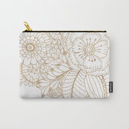 Elegant white faux gold glitter modern floral Carry-All Pouch