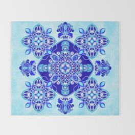 Inner wisdom (blue mandala) Throw Blanket