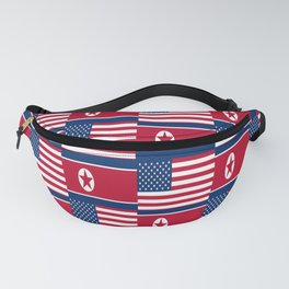 Mix of flag : USA and North Korea Fanny Pack