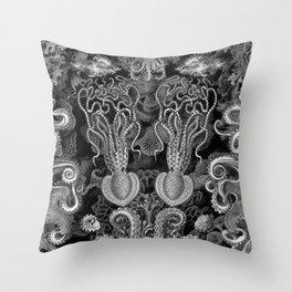 The Kraken (Black & White - NoText, Alt.) Throw Pillow