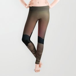 Sunset Shores In Pink And Grey Leggings
