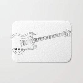 Solid Guitar Line Drawing Bath Mat