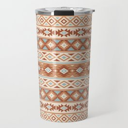 Aztec Stylized Pattern Blue Cream Terracottas Travel Mug