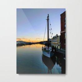 Mystic River Sunset Sailing Metal Print