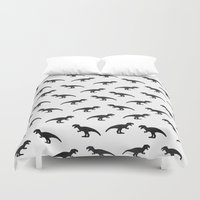 t rex Duvet Covers featuring T-Rex Pattern by Elisabeth Fredriksson
