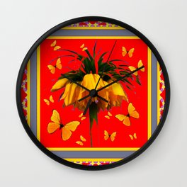 DECORATIVE RED YELLOW FRAMED BUTTERFLIES CROWN IMPERIAL Wall Clock