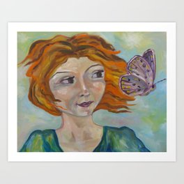 Girl and Butterfly Art Print
