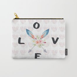Watercolor Roses Arrows Love Typography Carry-All Pouch