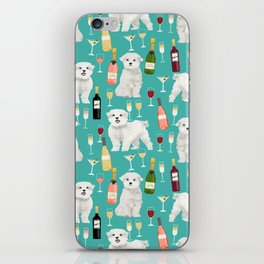 Maltese wine pattern dog breed dog portrait pet friendly pet art champagne iPhone Skin