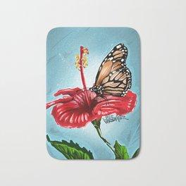 Butterfly on flower 2 Bath Mat