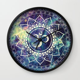 Om Mandala : Deep Pastels Galaxy Wall Clock
