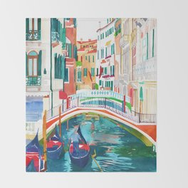 Canal in Venice Throw Blanket