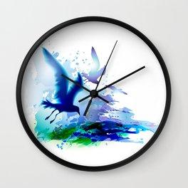 Birds flying. Sea, ocean watercolor gulls with waves. Dark blue water. Wall Clock