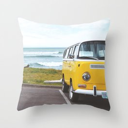 Combi yellow beach Throw Pillow