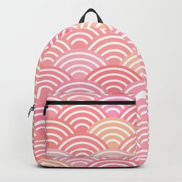 dragon fish scales simple pattern Nature background with japanese wave Backpack