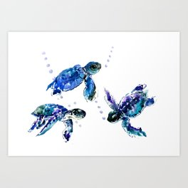 Three Sea Turtles, Marine Blue Aquatic design Art Print
