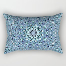 Light Blue Floral Life Mandala Rectangular Pillow
