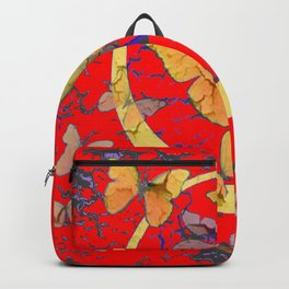 SHABBY CHIC GOLDEN BUTTERFLIES & RED ABSTRACT ART Backpack