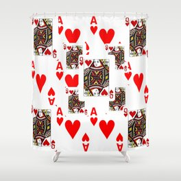 RED QUEEN OF HEARTS  & ACES PLAYING CARDS ARTWORK Shower Curtain