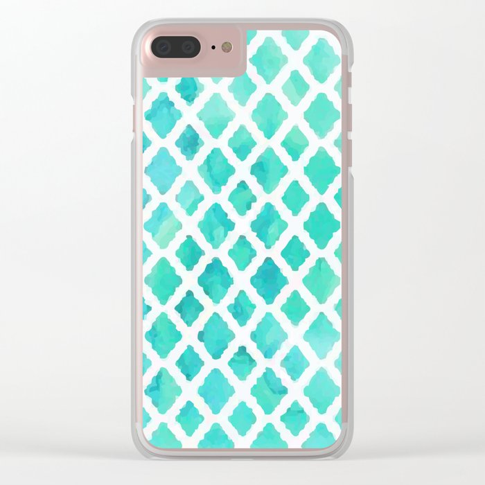 Blue pattern Clear iPhone Case